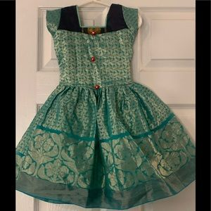 Custom Made Turquoise Dress sz 2-3-4 Halloween